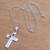 Sterling silver pendant necklace, 'Lovely Cross' - Love-Themed Sterling Silver Cross Necklace from Bali (image 2b) thumbail