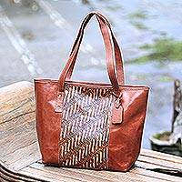 Batik leather tote, 'Parang Rusak' - Parang Motif Batik Leather Tote Handbag from Java