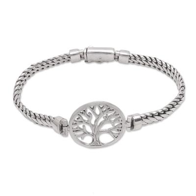 Tree-Themed Sterling Silver Pendant Bracelet from Bali