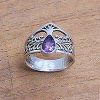 Amethyst cocktail ring, 'Enchanting Tree' - Amethyst and Sterling Silver Cocktail Ring with Tree Motif