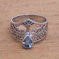 Featured review for Blue topaz cocktail ring, Tree Sparkle