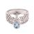Blue topaz cocktail ring, 'Tree Sparkle' - Tree-Themed Blue Topaz Cocktail Ring from Bali (image 2a) thumbail
