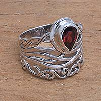 Garnet cocktail ring, 'Gianyar Sunset' - Openwork Garnet Cocktail Ring Crafted in Bali