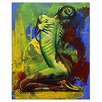 'Perfect Woman' - Signed Colorful Expressionist Painting of a Nude Woman