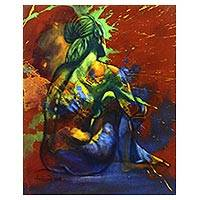 'Green Woman' - Multicolored Expressionist Painting of a Nude Woman