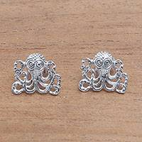 Sterling silver button earrings, 'Baby Octopus' - Sterling Silver Octopus Button Earrings from Bali