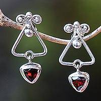 Garnet dangle earrings, 'Triangle Dew' - Triangular Garnet Dangle Earrings from Bali