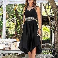 Rayon A-line dress, 'Midnight Path' - Floral Rayon A-Line Dress in Solid Black from Bali