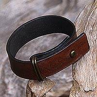 Leather wristband bracelet, 'Brown Nomad' - Brown Leather Wristband Bracelet Crafted in Bali