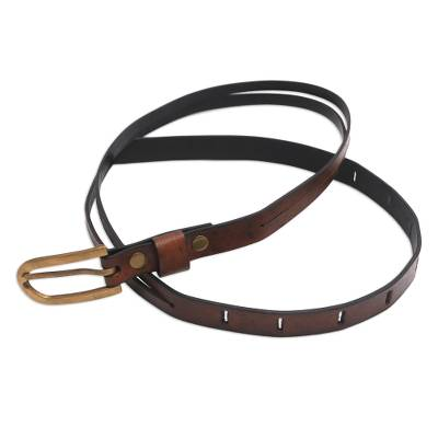 Handcrafted Leather Belt in Brown from Bali