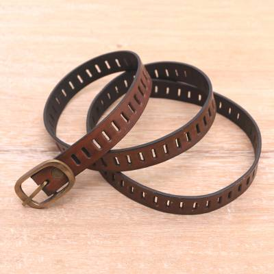 Leather belt, 'Bold Chemistry' - Handmade Brown Leather Belt from Bali