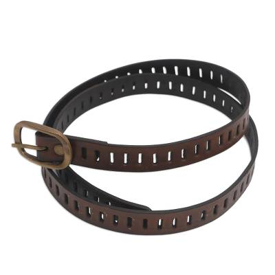 Handmade Brown Leather Belt from Bali