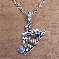 Rainbow moonstone pendant necklace- 'Angelic Harp' (Indonesia)