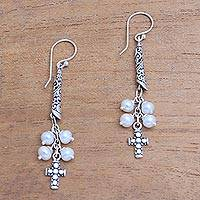 Cultured pearl dangle earrings, 'Heavenly Design' - Cultured Pearl Cross Dangle Earrings from Bali