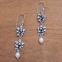 Cultured pearl dangle earrings, 'Lotus Garland' - Lotus Flower Cultured Pearl Dangle Earrings from Bali