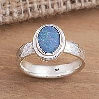Opal cocktail ring, 'Oval Pool' - Oval Blue Opal Cocktail Ring Crafted in Bali