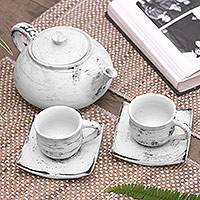 Ceramic tea set, 'Bali Vintage' - Handcrafted Ceramic Tea Set from Bali
