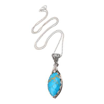 Gold Accented 17-Carat Turquoise Pendant Necklace from Bali