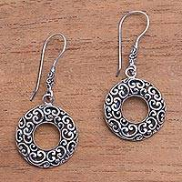 Sterling silver dangle earrings, 'Glorious Garden' - Circular Openwork Sterling Silver Dangle Earrings from Bali