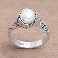 Cultured pearl single-stone ring, 'Beautiful Songket' - Cultural Cultured Pearl Single-Stone Ring from Bali