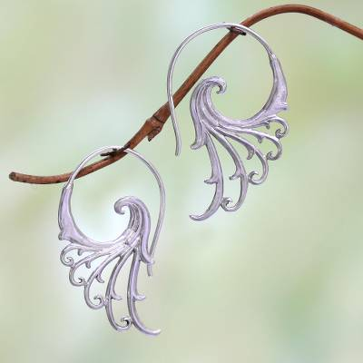 Sterling silver half-hoop earrings, 'Phoenix Wings' - Sterling Silver Elegant Feather Openwork Half-Hoop Earrings