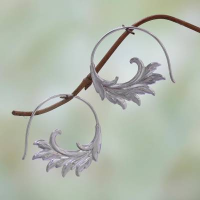 Sterling silver half-hoop earrings, 'Falling Feathers' - Sterling Silver Elegant Feather Motif Half-Hoop Earrings