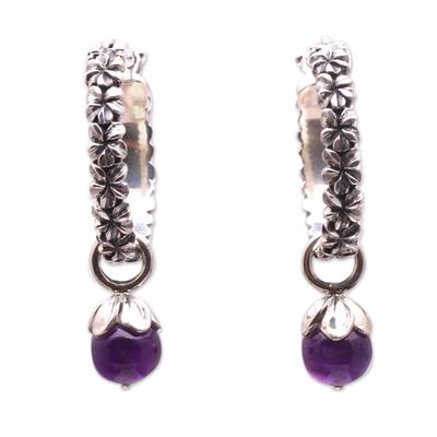 Amethyst and Sterling Silver Floral Motif Hoop Earrings