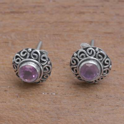 Amethyst stud earrings, 'God Eye' - Swirl Pattern Amethyst Stud Earrings from Bali