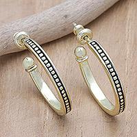 Gold plated sterling silver half-hoop earrings,