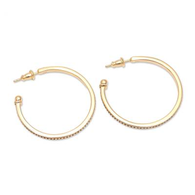 18k Gold Plated Sterling Silver Half-Hoop Earrings (1.3 in.)