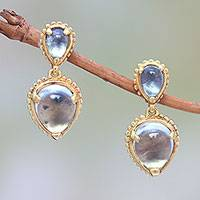 Gold plated blue topaz dangle earrings, 'Vintage Ace' - 18k Gold Plated Blue Topaz Dangle Earrings from Bali