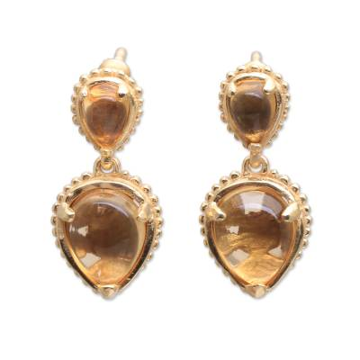 14k Gold Plated Citrine Dangle Earrings from Bali
