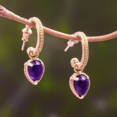 Gold plated amethyst dangle earrings, 'Vintage Gleam' - 14k Gold Plated Amethyst Dangle Earrings from Bali