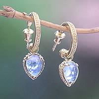 Gold plated blue topaz dangle earrings, 'Vintage Gleam' - Gold Plated Blue Topaz Half-Hoop Dangle Earrings from Bali