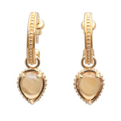 18k Gold Plated Citrine Dangle Earrings from Bali