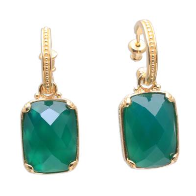 24.5-Carat Gold Plated Onyx Dangle Earrings from Bali