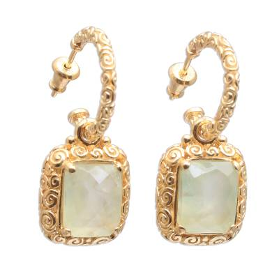 18k Gold Plated Prehnite Buddha Curl Earrings from Bali