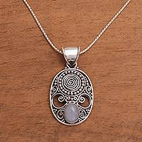 Rainbow moonstone pendant necklace, 'Shield of the Gods' - Handcrafted Rainbow Moonstone Pendant Necklace from Bali