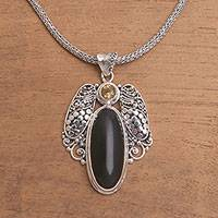Onyx and citrine pendant necklace,