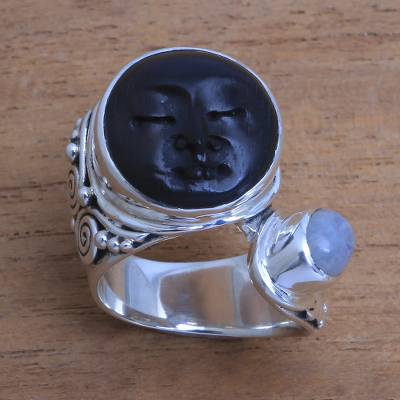 Rainbow moonstone cocktail ring, 'Night Face' - Bali Rainbow Moonstone and Ebony Wood Face Cocktail Ring