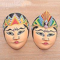 Batik wood masks, 'Manten Abadi' (pair) - Wedding-Themed Batik Wood Masks from Java (Pair)