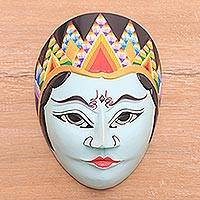 Batik wood mask, 'The Lonely Woman' - Traditional Batik Wood Mask from Java