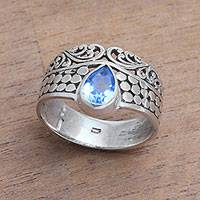 Featured review for Blue topaz band ring, Temple Stones