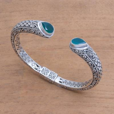 Agate cuff bracelet, 'Drops of Rain' - Agate and Sterling Silver with Multiple Motifs Cuff Bracelet