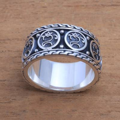 Men's sterling silver band ring, 'Omkara Blessing' - Men's Sterling Silver Om Band Ring from Bali