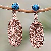 Rose gold plated magnesite dangle earrings, 'Nested Ovals' - Oval Rose Gold Plated Magnesite Earrings from Bali