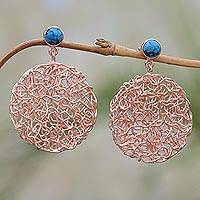 Rose gold plated magnesite dangle earrings, 'Nested Circles' - Circular Rose Gold Plated Magnesite Earrings from Bali