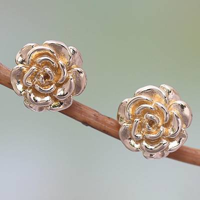 Gold plated sterling silver stud earrings, Blooming Rose (.4 inch)
