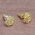 Gold plated sterling silver stud earrings, 'Blooming Rose' (.4 inch) - 18k Gold Plated Sterling Silver Rose Stud Earrings (.4 inch) (image 2b) thumbail