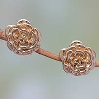 Gold plated sterling silver stud earrings, 'Blooming Rose' (.5 inch) - 18k Gold Plated Sterling Silver Rose Stud Earrings (.5 inch)